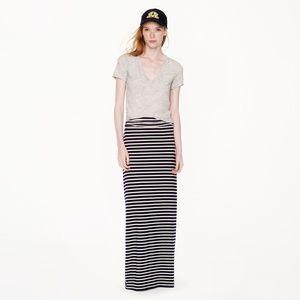 J. Crew Black and White Stripe Maxi Skirt Sz M